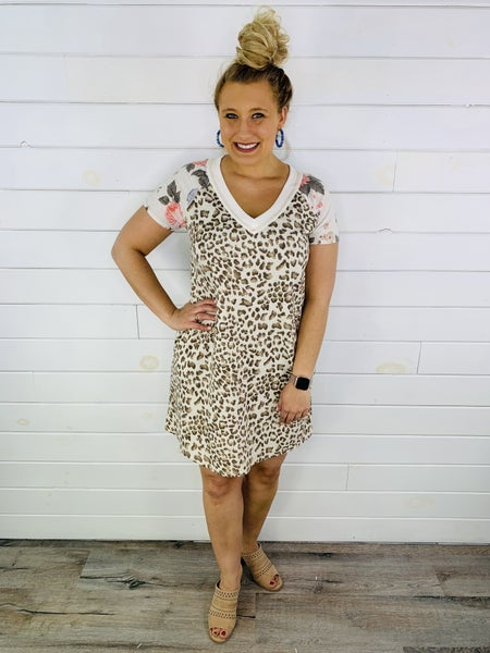 Plus/Reg HoneyMe Tan Animal Print Dress with Floral Sleeves
