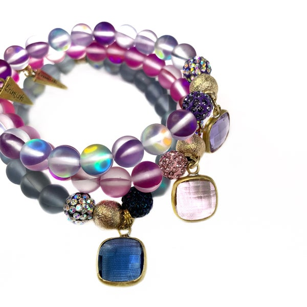 Erimish Moonstone Bracelets with Crystals and Gem Stones