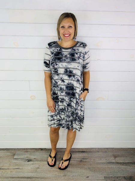 Black and Ivory Tie Dye Midi Dress with Grey Stripes