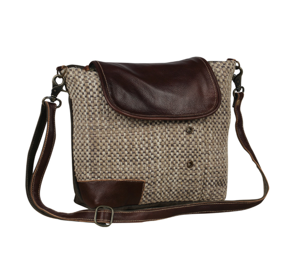 Myra Bag Woven Neutral Crossbody With Leather