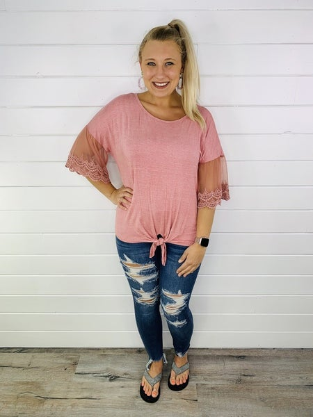Tie Front Top with Lace Sleeves- 2 Colors!