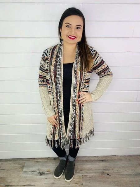 PLUS/REG Aztec Colorful Knit Cardigan