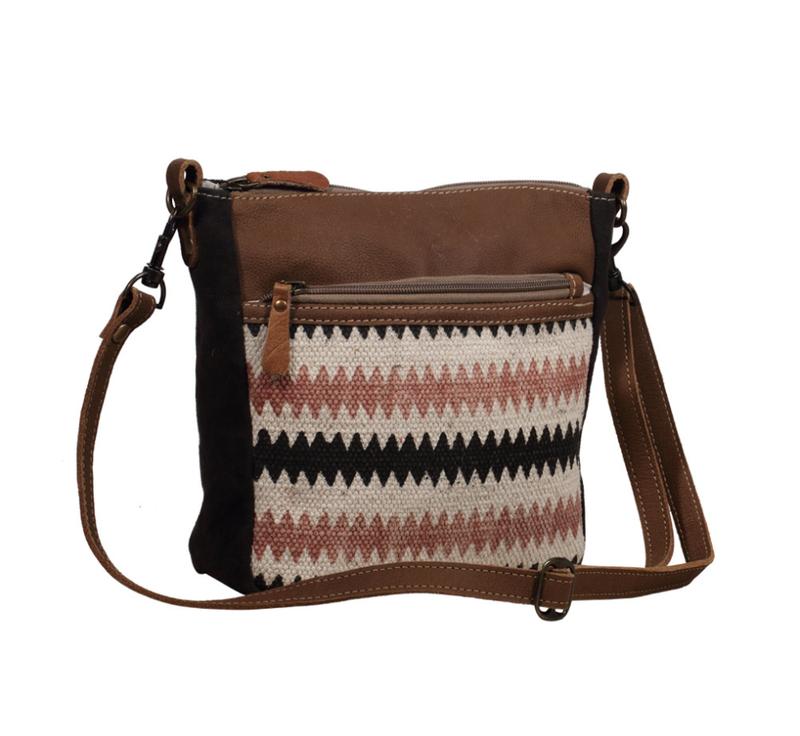 Myra Bag- Triple Zipper Chevron Crossbody