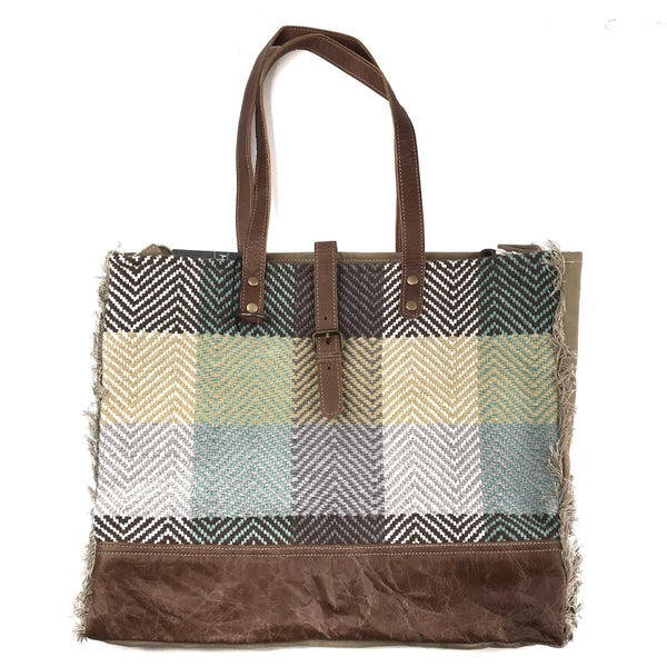 Myra Bag Chevron Color Block Tote with Leather and Fringe Detail