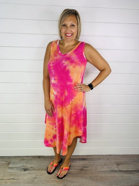 PLUS/REG Sweet Escape Tie Dye Dress