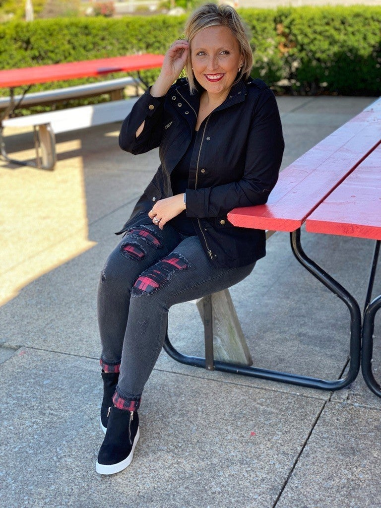 PLUS/REG Judy Blue Plaid is the New Black Skinny Jeans
