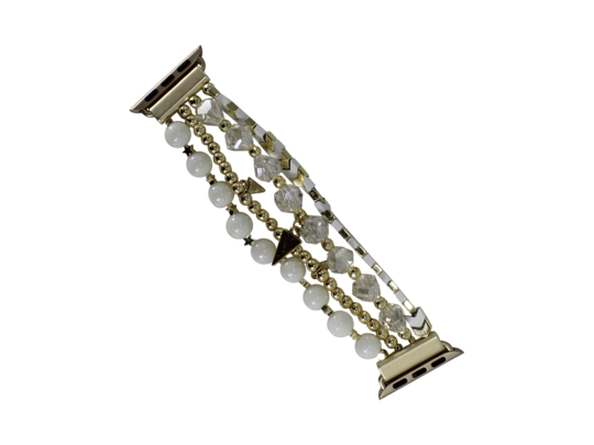 Erimish White and Gold Beaded Apple Watch Band
