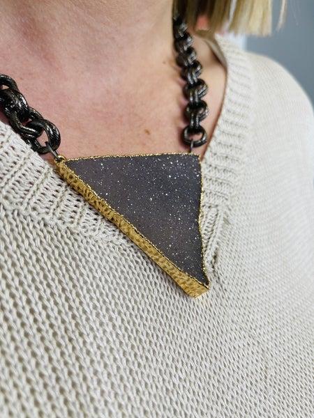 Karli Buxton Druzy Triangular Slab Necklace - Grey