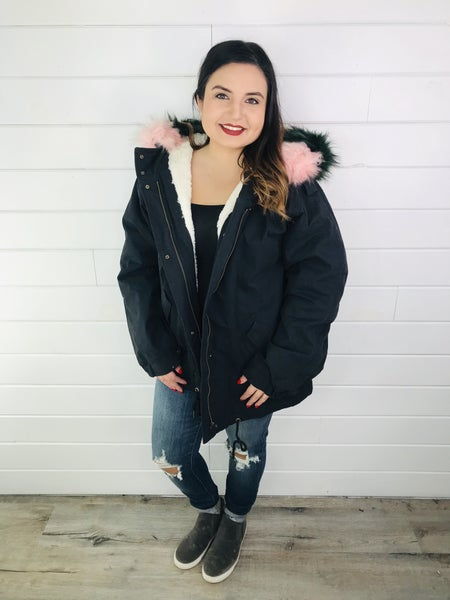 Easel Cozy and Boujee Bomber Jacket with Removable Faux Fur Hood