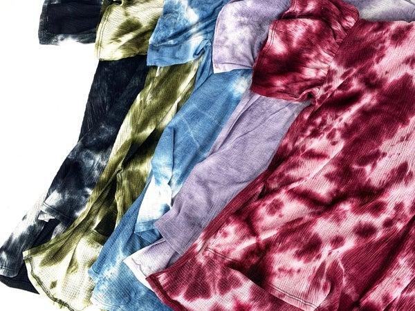 PLUS/REG Tie Dye Flowy Ruffle Sleeve Top- 5 Colors!
