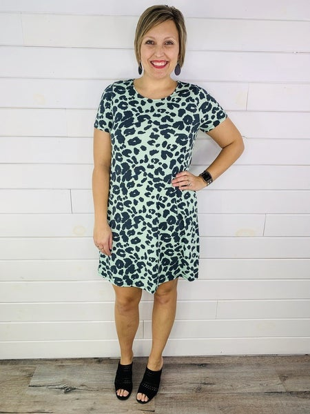 PLUS/REG HoneyMe Mint Animal Print Dress with Pockets