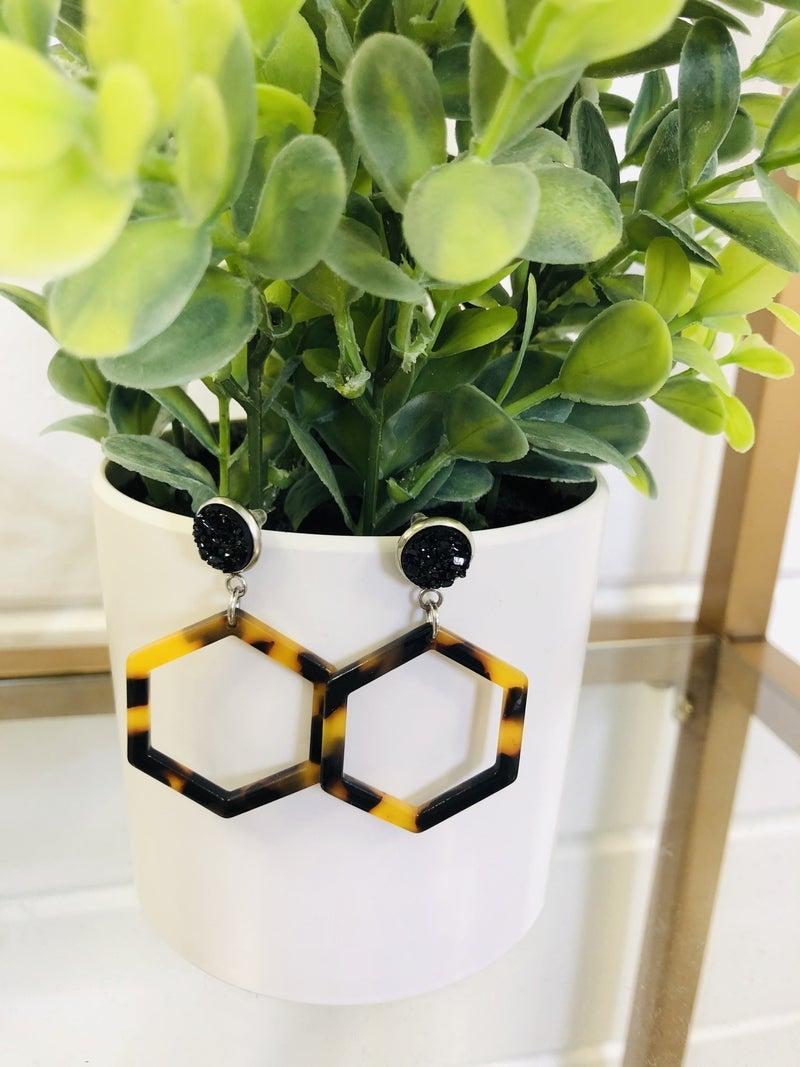 Black And Brown Acrylic Hexagon Earrings