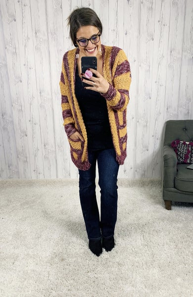 PLUS/REG Mustard and Wine Striped Cardi with Pockets