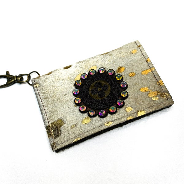 Authentic Upcycled LV Ivory And Gold Credit Card Case With Iridescent Rhinestones