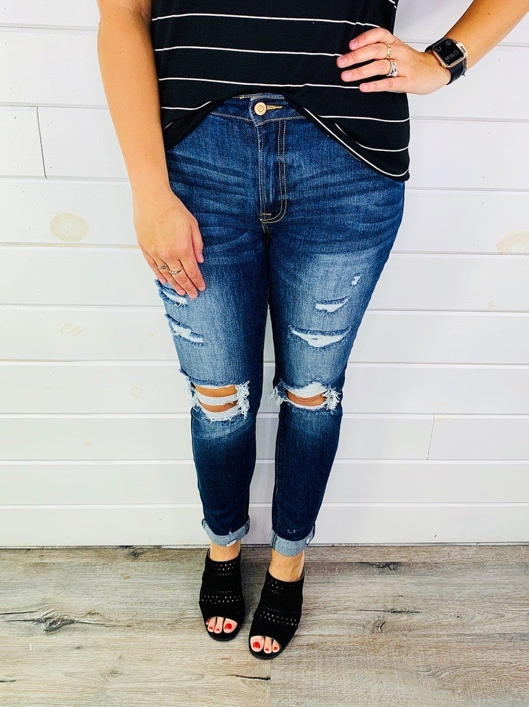 C'est Toi Tricot Knee Slapping Grained Skinnies