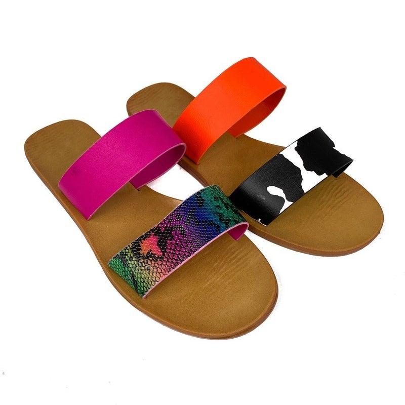 Neon Pattern Double Strap Sandals - 2 Colors!