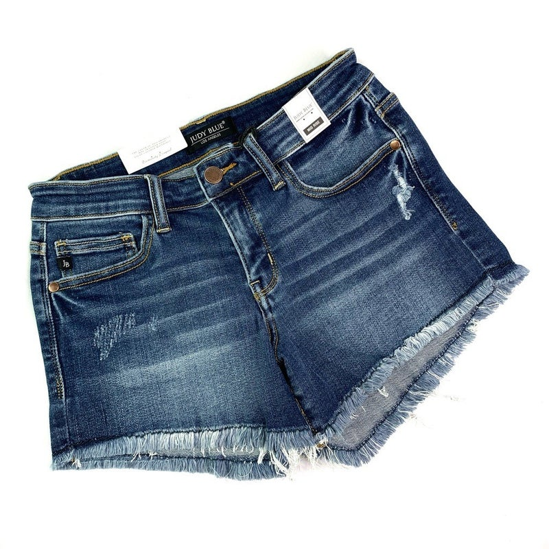 RESTOCK!! PLUS/REG Judy Blue Put Up Your Dukes CRAZY STRETCH Cut Off Shorts