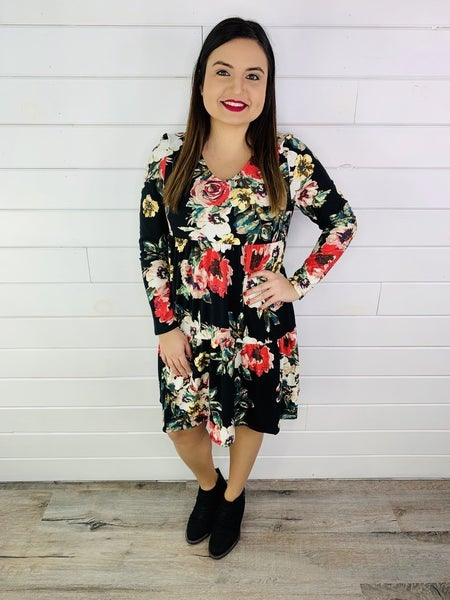 PLUS/REG Honeyme Floral Print Dress