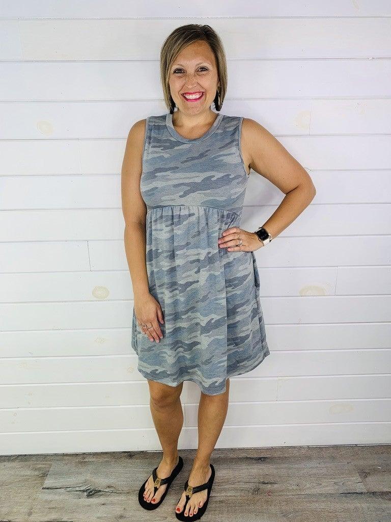 Grey Camo Babydoll Dress