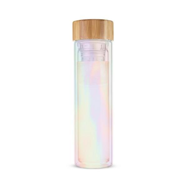 Iridescent Rainbow Glass Travel Infuser Mug