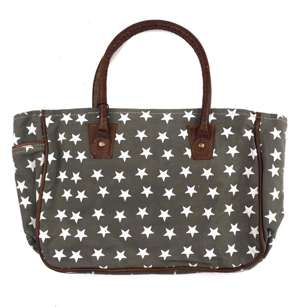 Myra Bag Olive Green and Star Printed Mini Tote