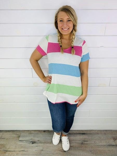 HoneyMe Plus/Reg Waffle Knit Rainbow Striped V Neck