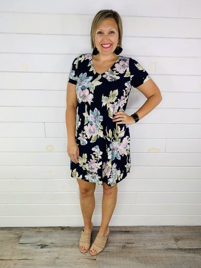 PLUS/REG HoneyMe Navy Floral Babydoll Dress