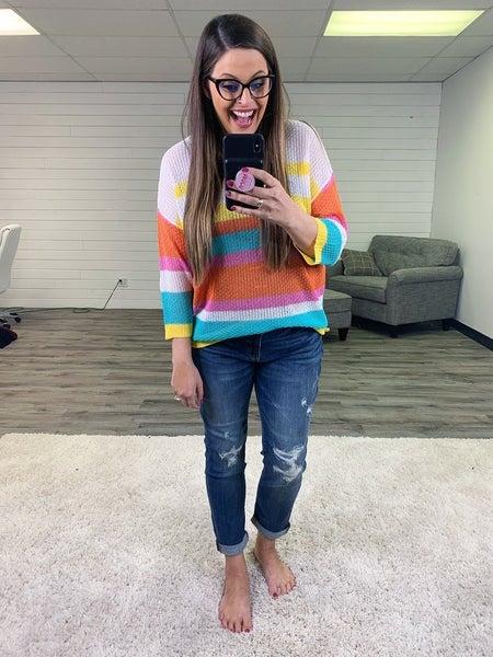 Bright Multicolor Lightweight Pullover