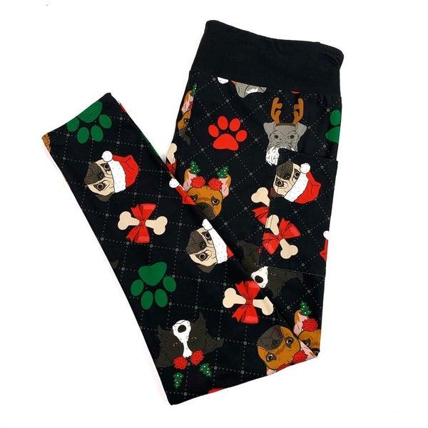 Custom PLUS/REG Dog Print Holiday Leggings