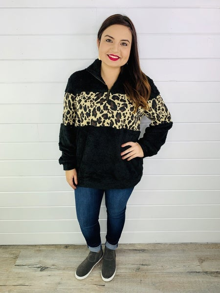 ADULT Mommy and Me Plus/Reg Black and Cheetah Color Block Sherpa