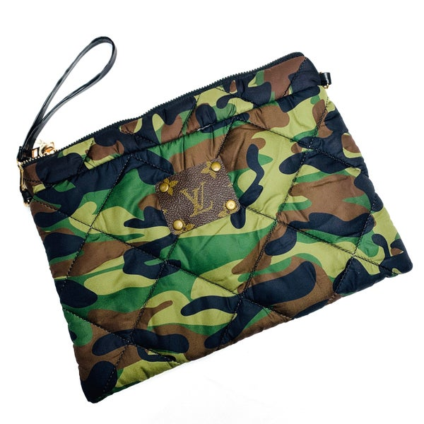 Authentic Upcycled LV Quilted Camo Wristlet