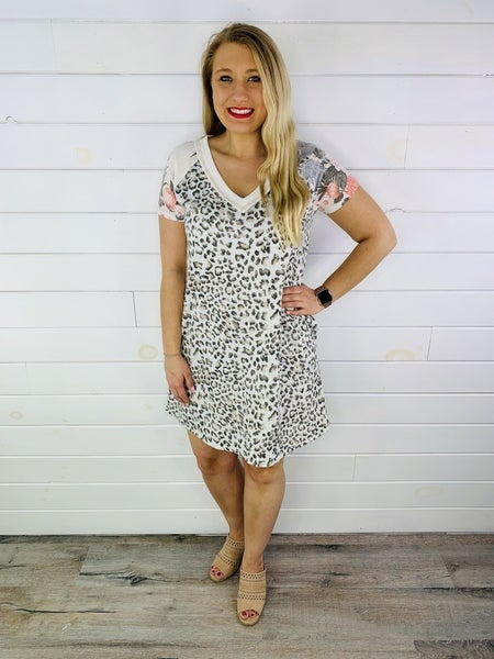 Plus/Reg HoneyMe Grey Animal Print Dress with Floral Sleeves