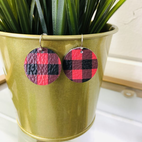 DOORBUSTER!! Red Plaid Leather Earrings