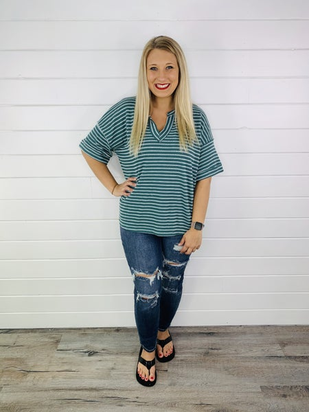 Oversized Terry Knit V Neck Top- 2 Colors!