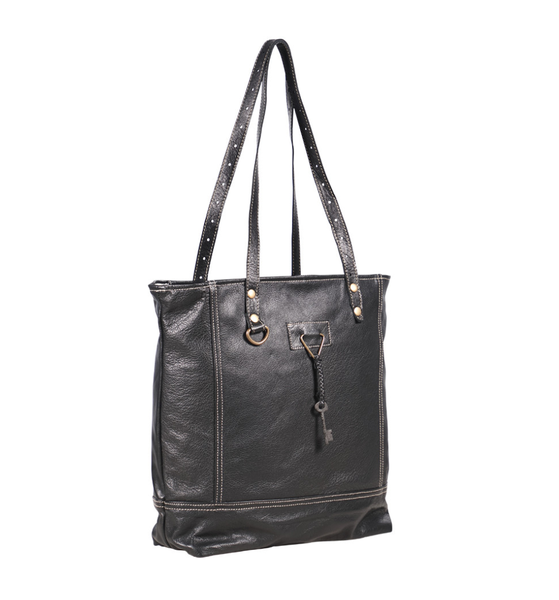 Myra Bag Black All Leather Tote Bag
