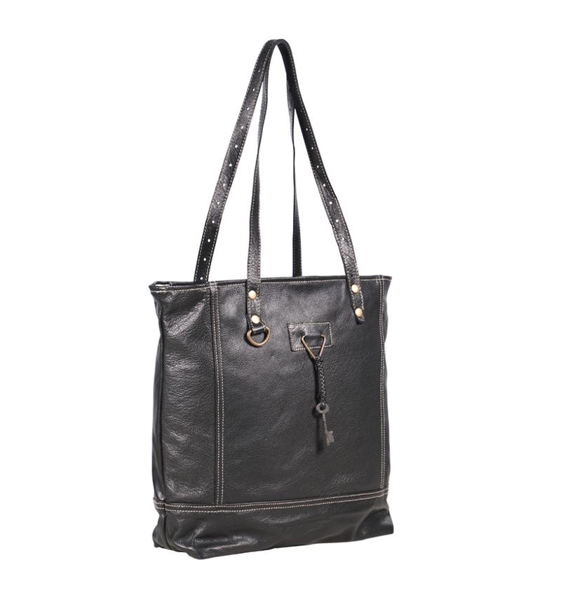 Myra Bag Black All Leather Tote Bag