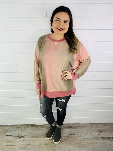 PLUS/REG HONEYME Ombré Sweatshirt