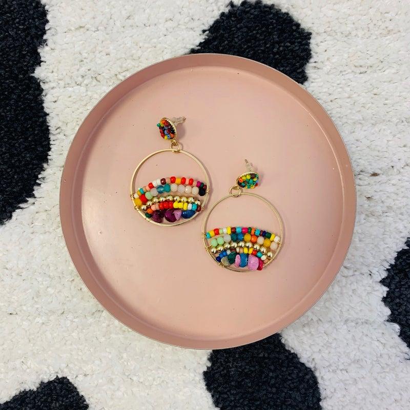 Rainbow Round Beaded Earrings