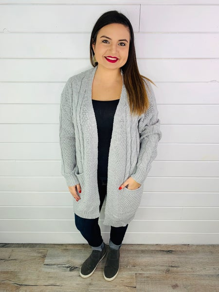 DOORBUSTER PLUS/REG Cable Knit Sweater Open Front Cardi