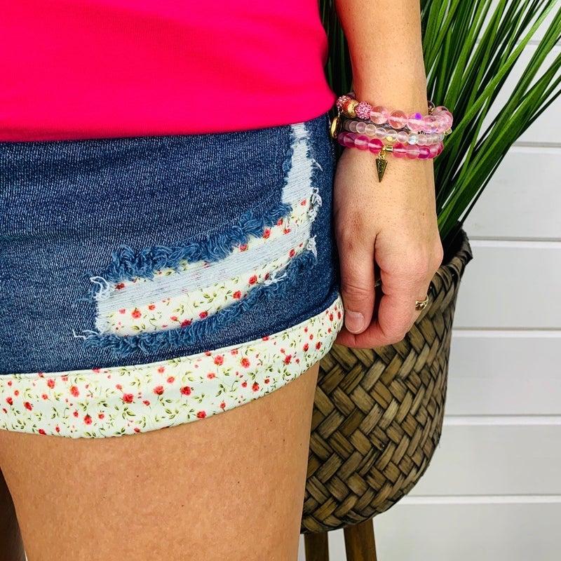 PLUS/REG Judy Blue Flower Patch Stretchy Shorts