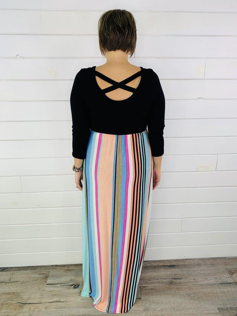 PLUS/REG HoneyMe Pastel Stripe Maxi Dress