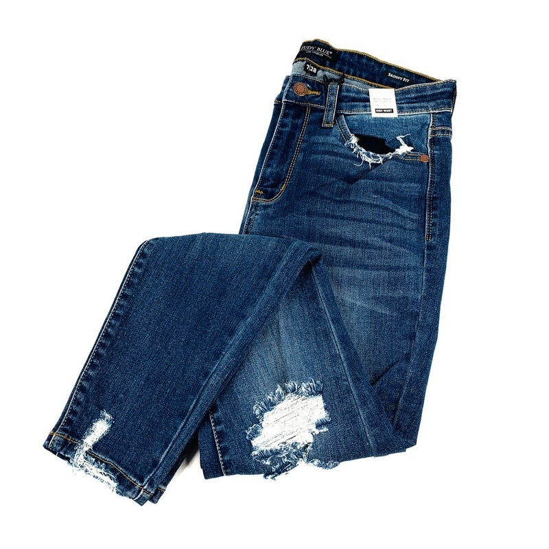 Plus/ Reg Judy Blue I Go Back Distressed Skinnies