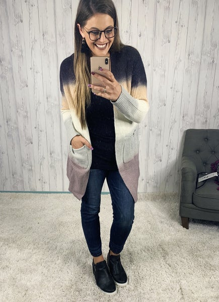 Ombre Long Open Front Cardi with Pockets