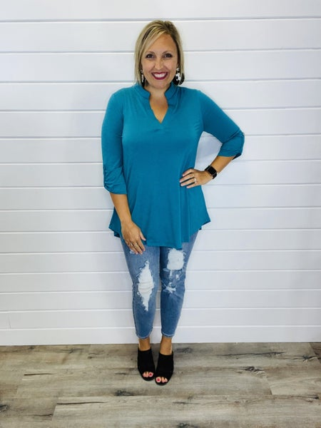 PLUS/REG The Perfect Teal Gabby Top