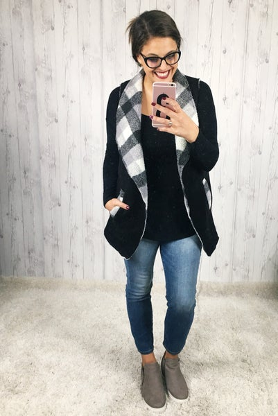 Plaid Suede and Sherpa Vest