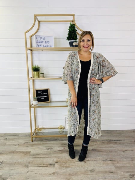 Kori Leopard and Floral Duster Cardigan