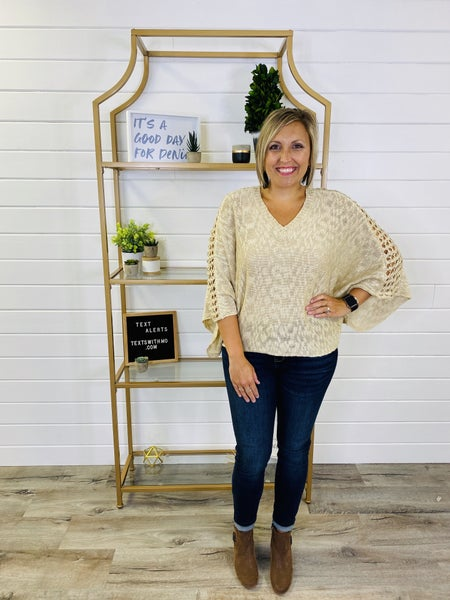 V Neck Sweater with Open Weave Sleeve Detail