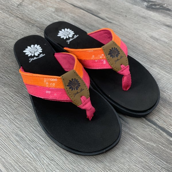 Restock! Yellowbox Hot Pink and Orange Sequin Flip Flop