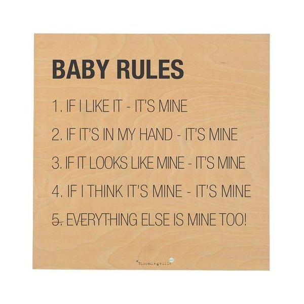 Baby Rules Wood Wall Decor