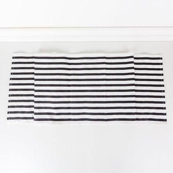 White/black Striped Table Runner